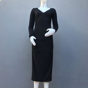 Kenneth Cole Ruched Long Black Dress Small